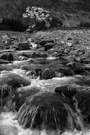 Karsha Monastery and Mountain Stream