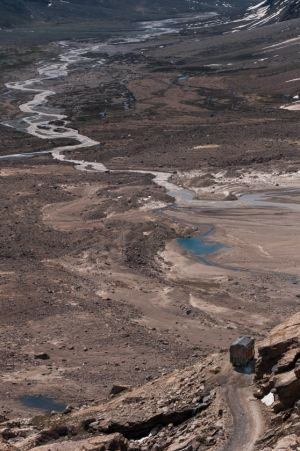 Pentse River, Valley and Traffic, Zanskar, Ladakh